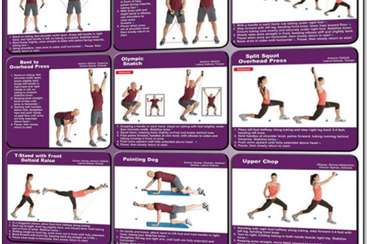 Resistance Tubing Exercises Poster - Shoulders, Rotator Cuff and Core