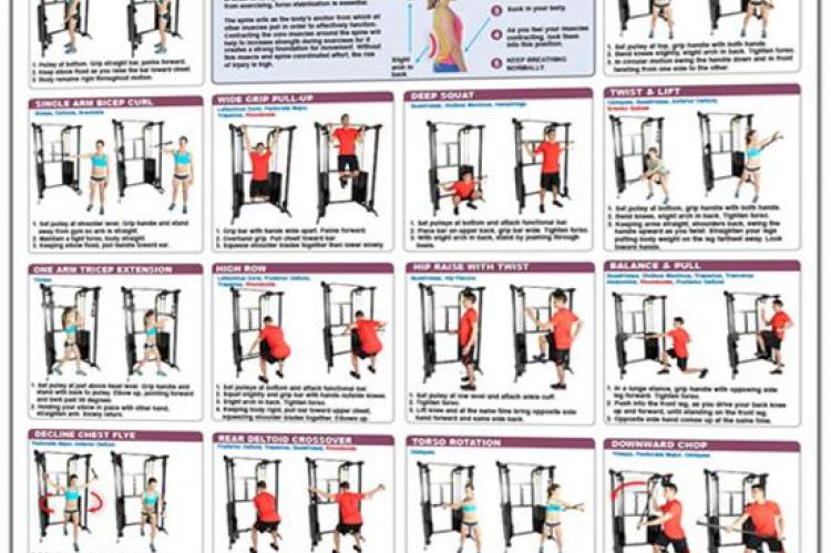 Functional Trainer Exercises Poster - Advanced