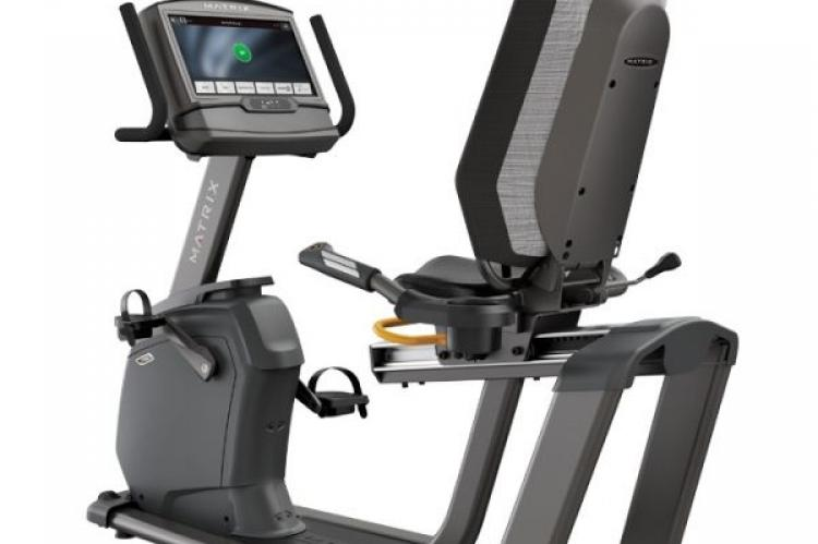 back view of the Matrix R50 Recumbent Bike with XIR Console